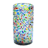 Rainbow Barcelona vase by La Galeria. A sustainable, recycled glass vase with a cylindrical shape and covered with decorative, multi-coloured droplets.