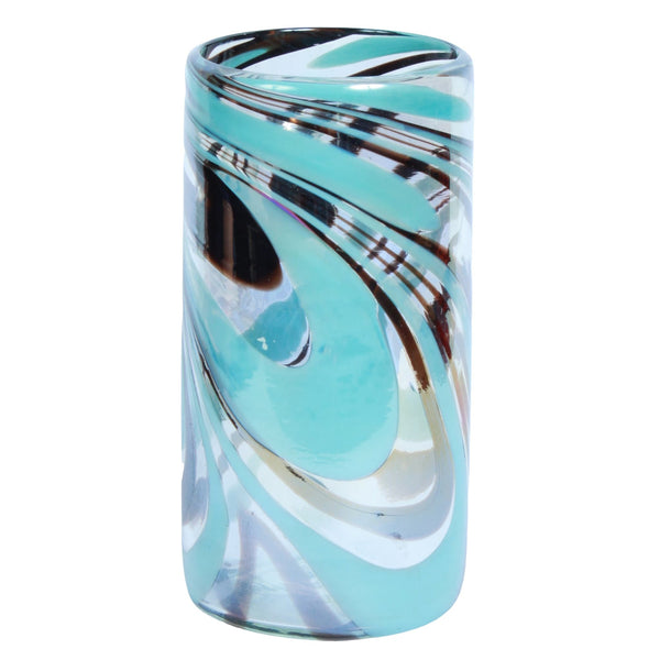 La Galeria sustainable, recycled glass cylindrical decorative vase with turquoise, grey and brown swirls.