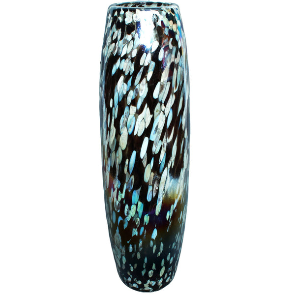 La Galeria large, tall and contemporary sustainable recycled glass decorative vase with brown and silver streaks.