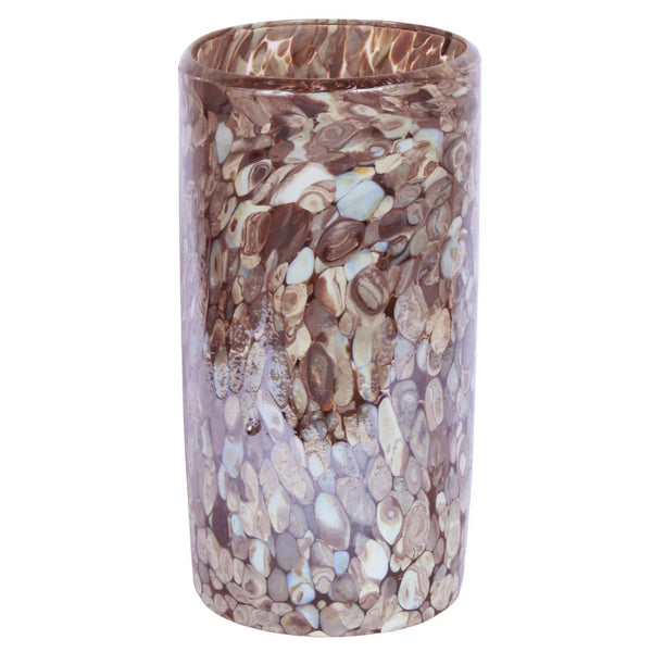 La Galeria contemporary, sustainable, recycled glass cylindrical decorative vase with silver and turquoise flakes.