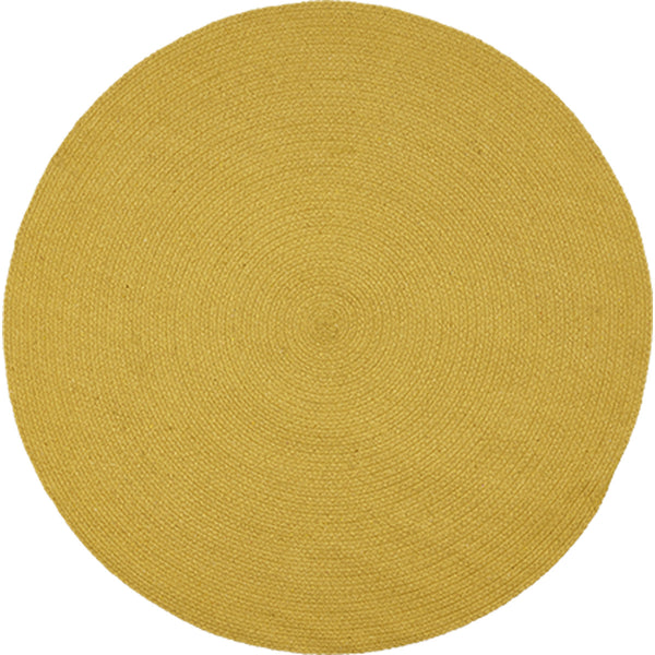 Birds eye view of round mustard yellow rug 130cm.  Made from eco-friendly, sustainable, recycled cotton.