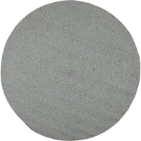 Birds eye view of round stone grey rug 130cm.  Made from eco-friendly, sustainable, recycled cotton.