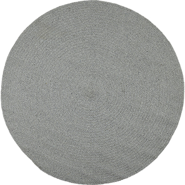 Birds eye view of round stone grey rug 130cm.  Made from eco-friendly, sustainable, recycled cotton.  Goodweave certification ensures it is ethical.