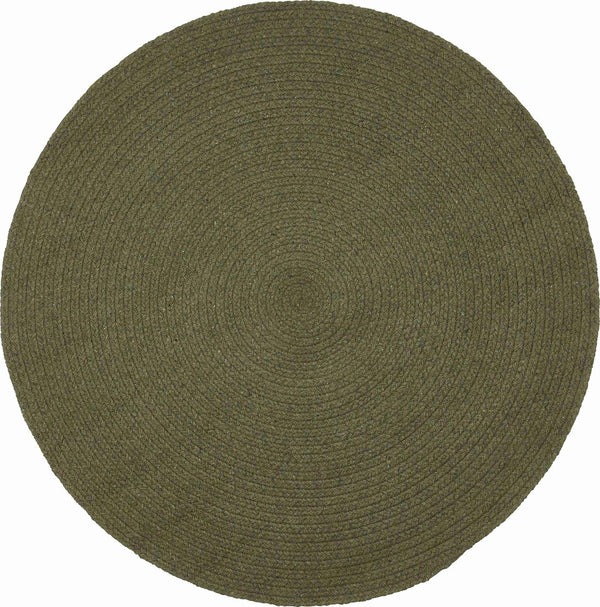 Birds eye view of round moss green rug 130cm. Made from environmentally friendly, sustainable, recycled cotton.