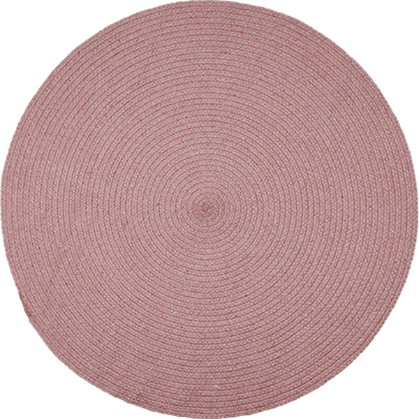 Birds eye view of round pink rug 130cm.  Made from environmentally friendly, sustainable, recycled cotton.  Goodweave certification ensures it is ethical.
