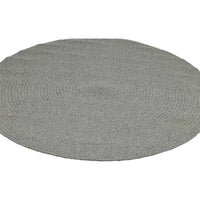 Ellipse view of round stone grey rug 130cm.  Made from eco-friendly recycled cotton.