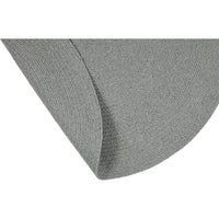 Folded view of round stone grey rug 130cm.  Made from environmentally friendly recycled cotton.