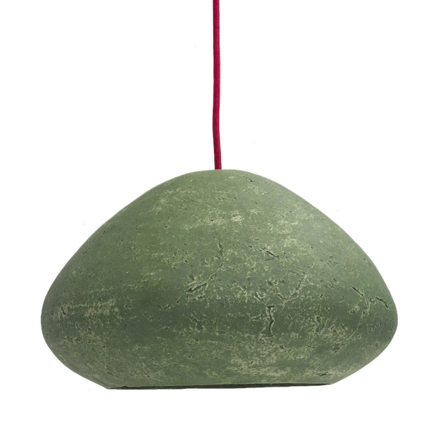 Environmentally friendly Veronese green pendant lamp.  Shaped like a wide, rounded pyramid with smooth paper mache (papier-mâché) textured finish.  It has a red cable.