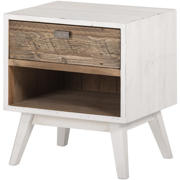 Contemporary recycled furniture.  Side table containing one drawer and empty space below for books.  The front is oak-coloured, the rest of the exterior and four legs are in a distressed white colour.  Nail marks and other imperfections are visible because the eco friendly reclaimed pine wood is from shipping pallets.