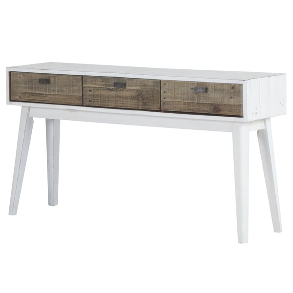 Contemporary recycled furniture. White console table.  The three front facing drawers are oak-coloured, the rest is painted in a distressed white finish. Nail marks and other imperfections are visible because the eco friendly pine wood is from reclaimed pallets.
