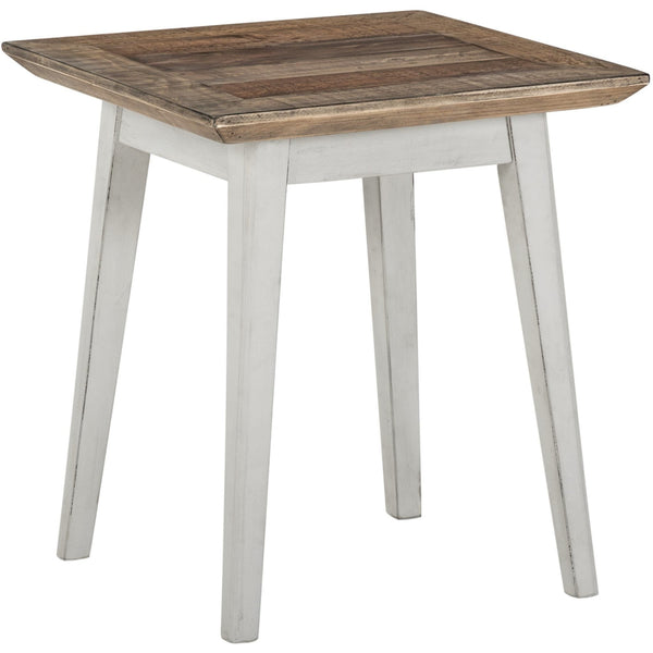 Contemporary recycled furniture.  Lamp side table with flat oak-coloured top and wooden legs in a distressed white finish.  The pine wood top has visible nail marks and other imperfections due to the eco friendly wood being reclaimed from shipping pallets.