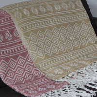 Two recycled plastic bottle (PET) throws-blankets, with geometric design and fringe.  One pale red, the other pale yellow.