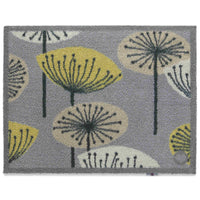 Grey recycled cotton eco doormat, with graphic flowers on it, that look like dandelions.   Non-slip rubber back.  Made in the UK.