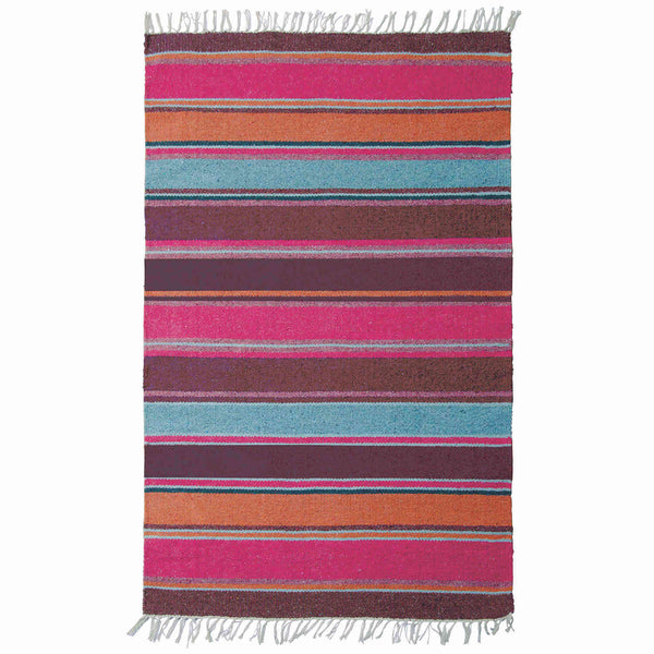 Birdseye view of pink, purple and blue striped recycled cotton rug. Environmentally friendly and ethically sourced. 120 x 180cm