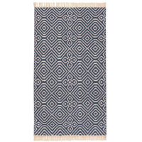 Birds eye view of a navy blue 60 x 110cm kilim rug with white geometric pattern. White fringe at both ends. Made from environmentally friendly recycled plastic bottles (PET).  Goodweave certification ensures it is ethical.