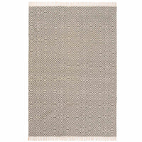 Birds eye view of a stone grey 120 x 180cm kilim rug with white geometric pattern. White fringe at both ends. Made from environmentally friendly recycled plastic (PET) bottles.