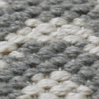 Close up showing the weave of the grey recycled plastic bottle rug.
