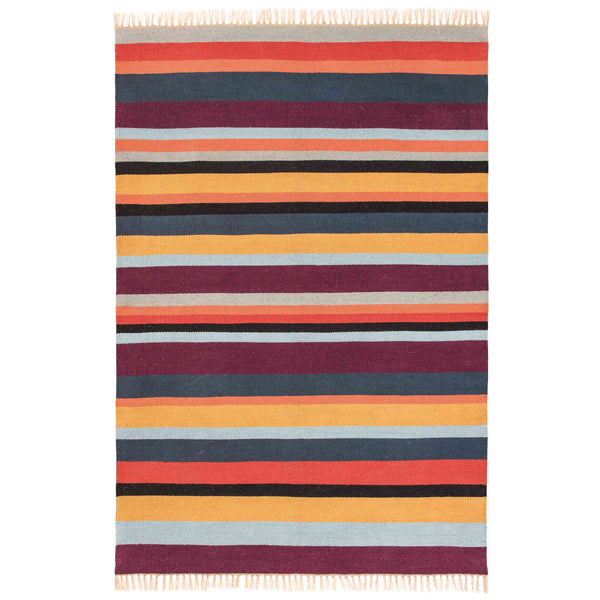 Birdseye view of multi-coloured striped recycled plastic bottle rug.  Orange, purple, blue, black.  Eco friendly and suitable for indoor or outdoor use.  120 x 180cm.