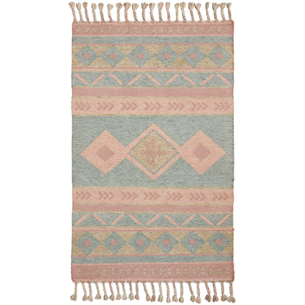 Recycled plastic bottle rectangular rug in pastel shades of pink and blue with symmetrical pattern and centred with a square motif.  The ends have plaited tassels.  Handmade ethically by traditional Indian artisans.