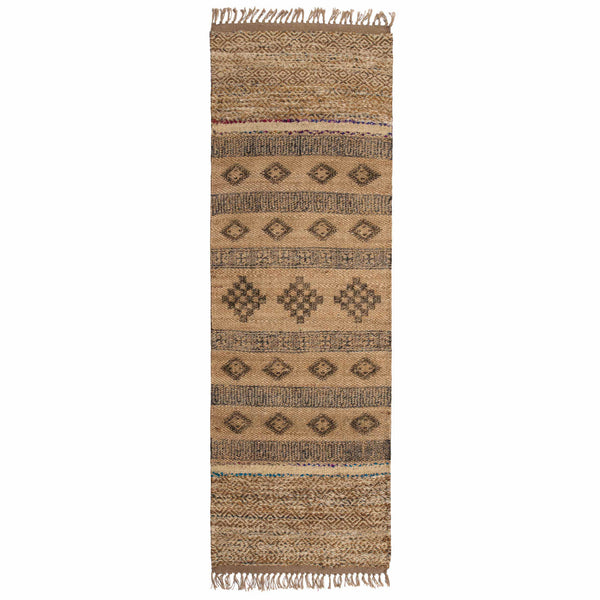 70 x 240cm rug runner for hallways.  Made from sustainable jute, with block printed diamonds and interwoven recycled sari pieces.  Handmade, ethical and eco-friendly.