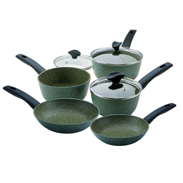 Prestige Eco five piece pan set. Three saucepans with lids and two frying pans. It has a dark green colour with white flecks on it. It makes an ideal moving in gift.