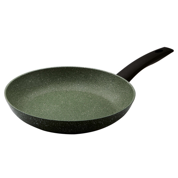 Prestige Eco fry pan 28cm.  Made from recycled aluminium, it has a green non-stick covering with white flecks.