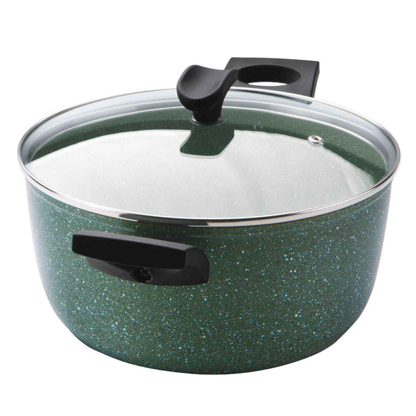 Prestige Eco stockpot.  Made from recycled aluminium, it has a green non-stick covering with white flecks.  It has a glass lid and black handles.