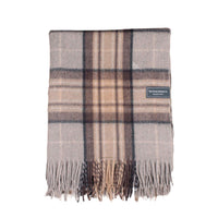 Folded recycled wool throw.  Tartan check design of natural colours, grey, beige, brown.