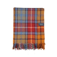 Tartan recycled wool throw or blanket.  Check design of red, orange, light blue and green.