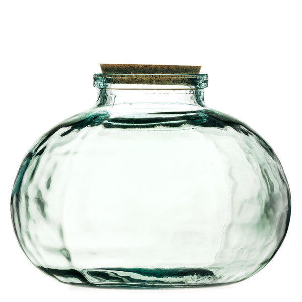 ReChic sustainable, recycled large clear glass balloon storage jar with cork lid. 29cm diameter and 23cm tall.