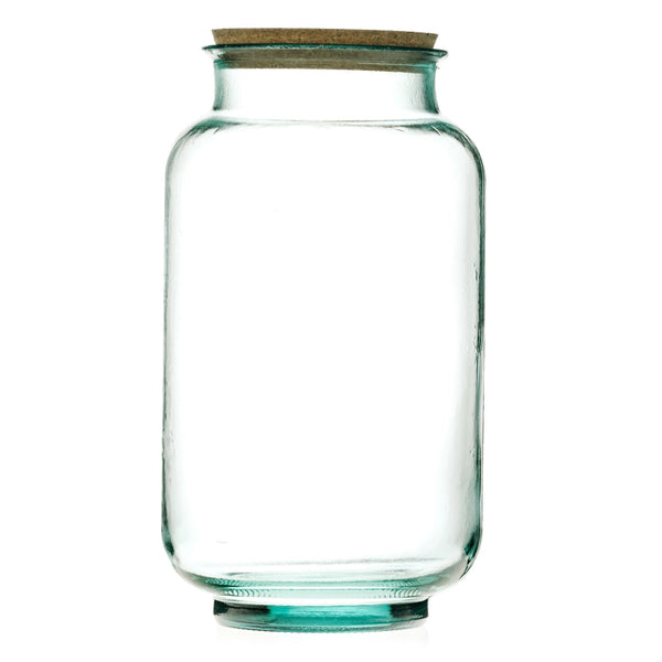 ReChic sustainable, large recycled clear glass cylindrical storage jar with cork lid.  20cm diameter and 33cm tall.