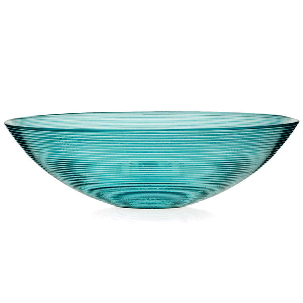 ReChic contemporary, sustainable, recycled turquoise blue glass translucent ribbed bowl. 30cm wide and 9cm tall.