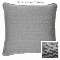 ReChic recycled square cushion. Dark silver-grey fine chevron design.