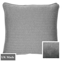 ReChic sustainable, recycled cotton and PET cushion with fine chevron design in dark grey and off-white.  45 x 45cm
