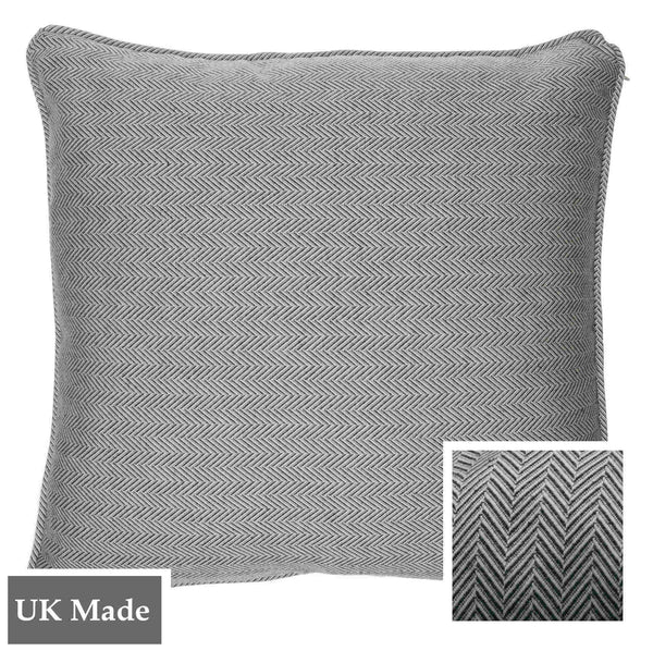 ReChic sustainable home decor.  A recycled cotton and plastic bottle eco-friendly cushion with fine chevron design in dark grey and off-white. 45 x 45cm and made in the UK.