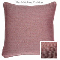 ReChic square sustainable recycled cotton cushion. Raspberry red, fine chevron design.
