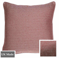 ReChic sustainable home decor, recycled cotton and plastic bottle eco-friendly cushion with fine chevron design in raspberry red and off-white. 45 x 45cm.  UK Made.