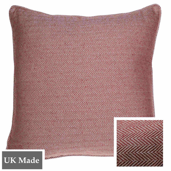 ReChic sustainable home decor, recycled cotton and PET cushion with fine chevron design in raspberry red and off-white. 45 x 45cm