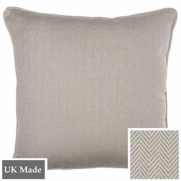 ReChic sustainable, recycled cotton and PET cushion with fine chevron design in taupe and off-white. 45 x 45cm