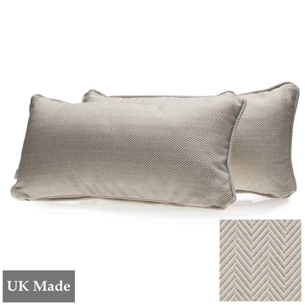 Two rectangular cushions made by ReChic from sustainable, recycled cotton and PET with fine chevron design in taupe and off-white. 45 x 22.5cm