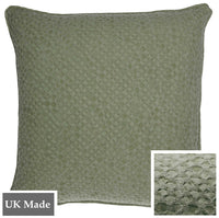ReChic sustainable, recycled cotton and plastic bottle cushion in stonewash green colour with textured design like inverted bubble wrap.  Square 45 x 45cm and made in the UK.