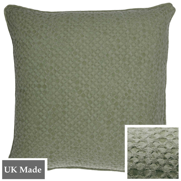 ReChic sustainable, recycled cotton and PET cushion in stonewash green colour with textured design like inverted bubble wrap.  45 x 45cm