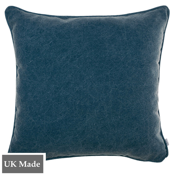 ReChic sustainable, recycled cotton and PET cushion in stonewash navy blue.  45 x 45cm