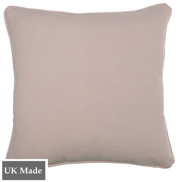 ReChic sustainable, recycled cotton and PET cushion in stonewash soft pink.  45 x 45cm