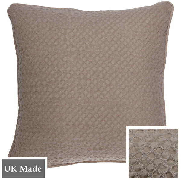 ReChic sustainable, recycled cotton and PET cushion in stonewash taupe colour with textured design like inverted bubble wrap. 45 x 45cm
