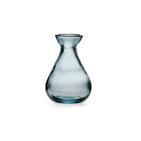 ReChic sustainable, recycled, contemporary grey glass bud vase in traditional pot shape, with wide base, narrow neck and wide top.  11cm tall.