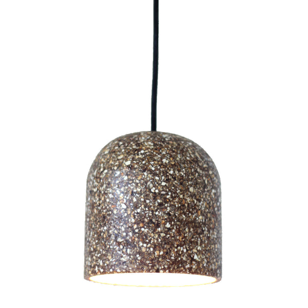 Recycled orange peel biowaste ceiling lampshade.  It is brown with orange and white mottled flecks.  Eco-friendly, sustainable design.