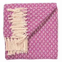 Purple recycled cotton throw or blanket, with diamond design.  Ethically made.