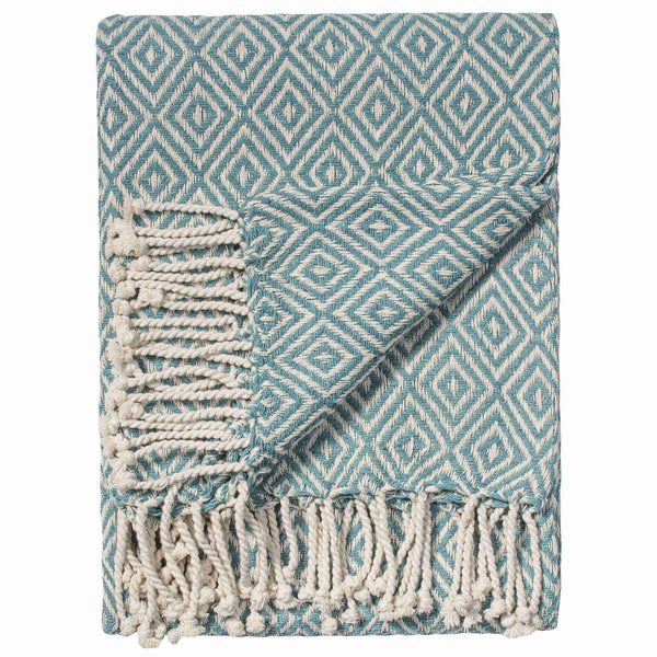 Turquoise blue throw or blanket, with diamond design.  Made from recycled cotton.