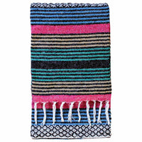 Eco-friendly recycled Cotton Blanket-Throw with blue, pink, orange and green multi stripes. 135 x 180cm